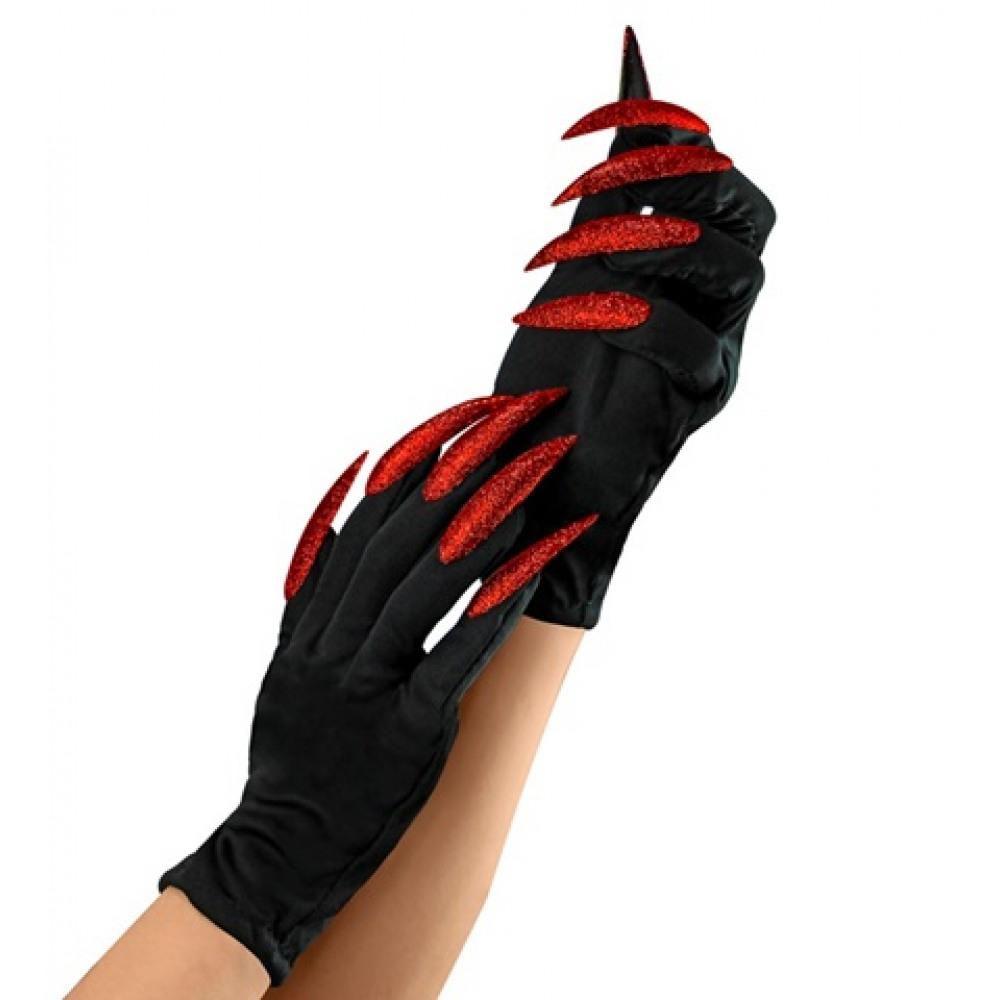 Gants de sorcières ongles géants rouges