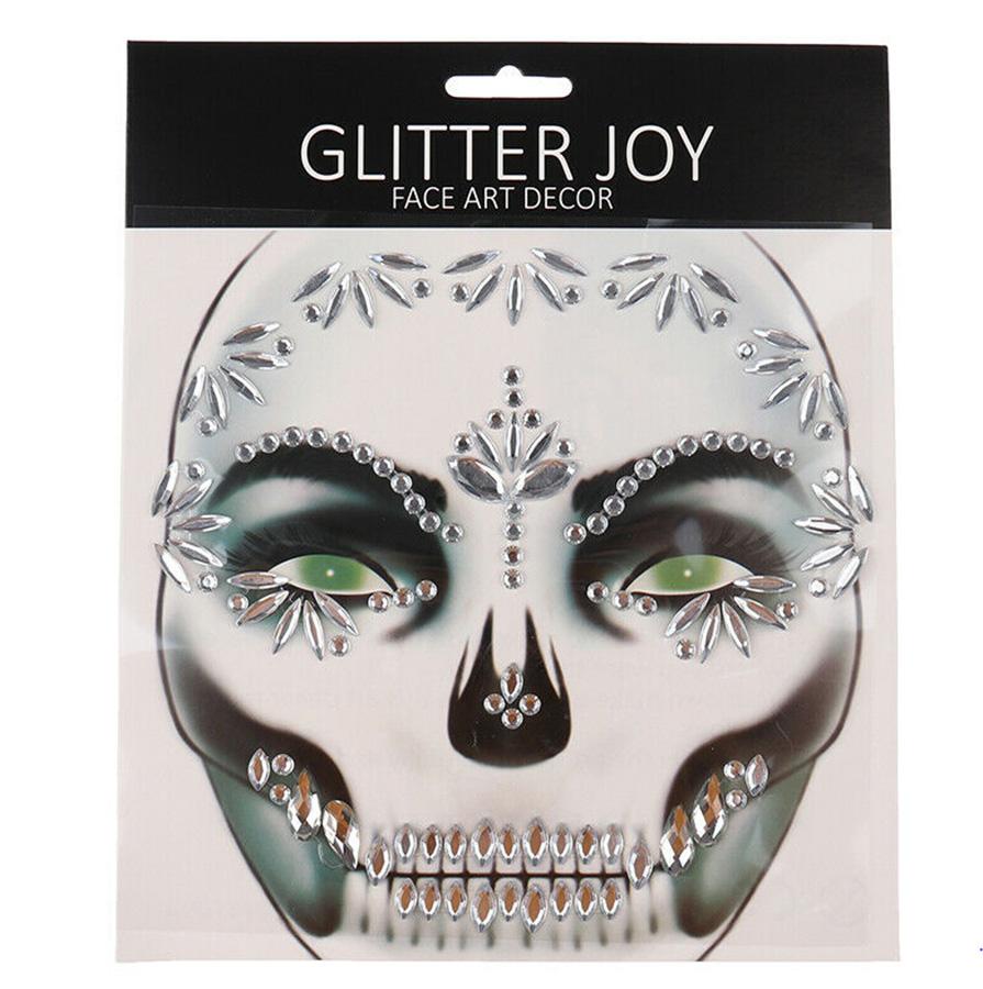 Sticker strass bijou de peau jour des morts mexicain cristal