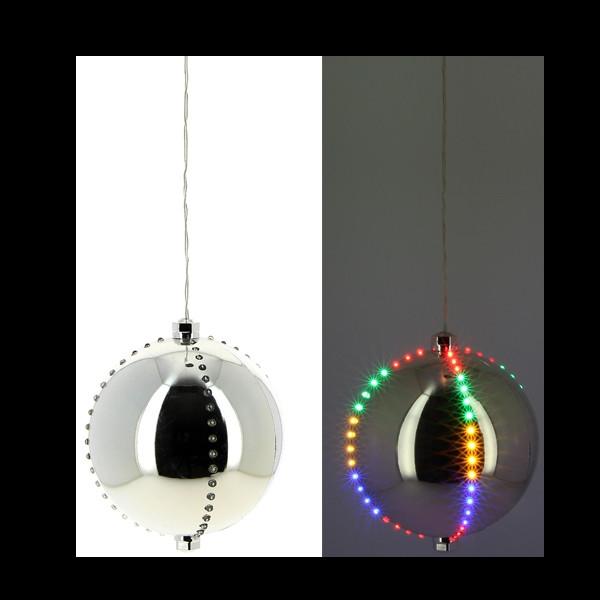 Boule de Noel argent lumineuse