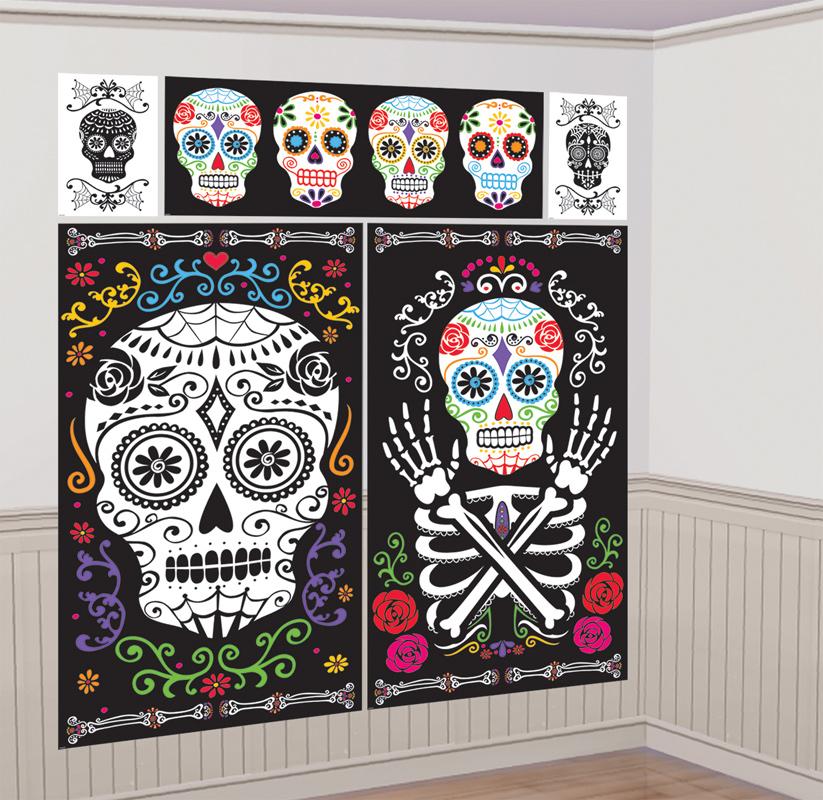 Décoration murale halloween jour des morts mexicains