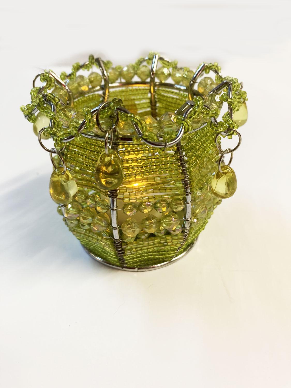 Photophore métal et perles vertes