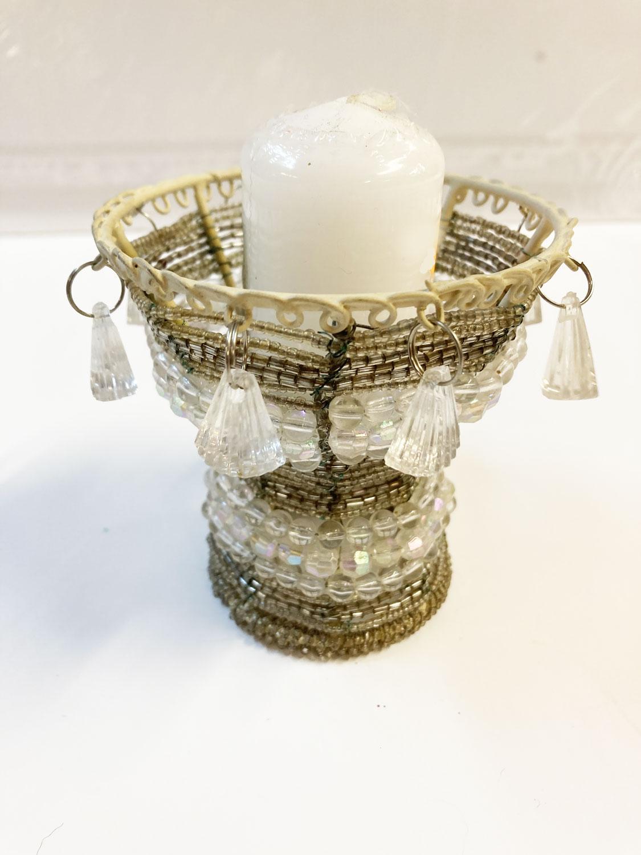 Photophore métal et perles argent