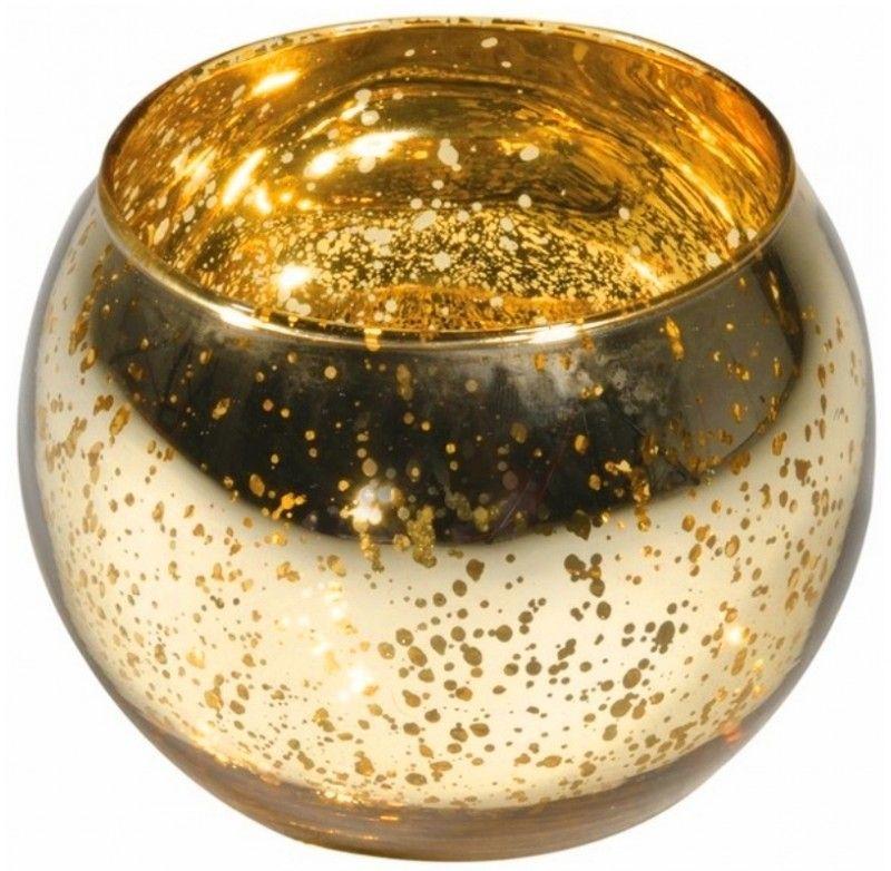Photophore en verre métallisé or x 3