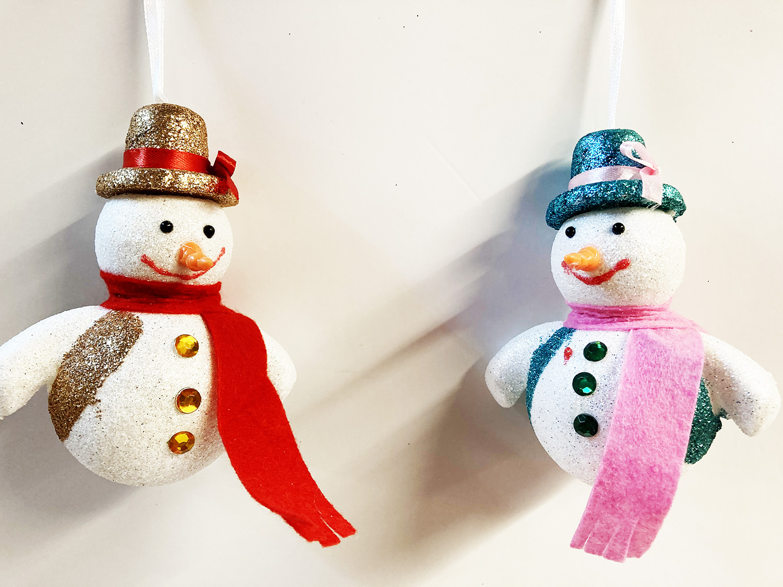 2 boules de Noel bonhomme de neige
