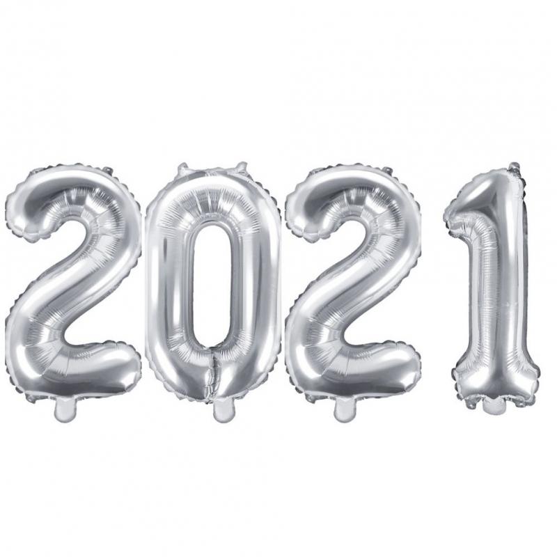 Ballons chiffres 2021 argent