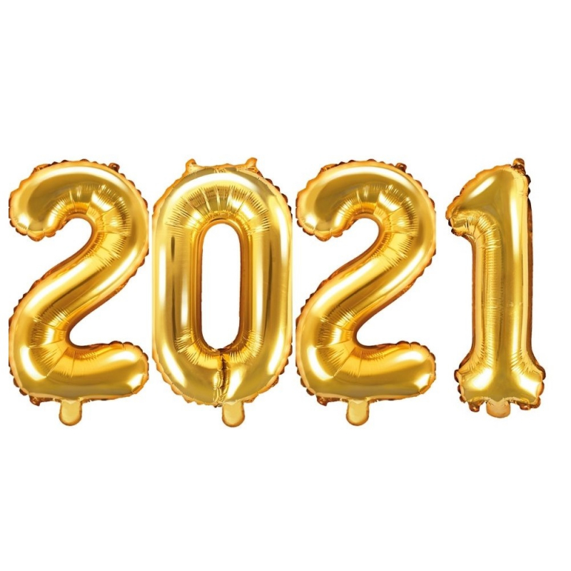Ballons chiffres 2021 or