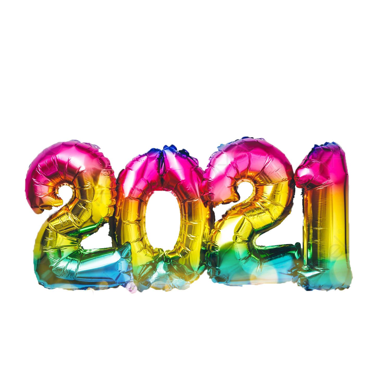 Ballons chiffres géants 2021 rainbow avec hélium