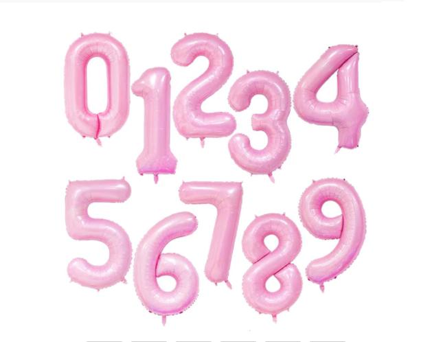 Ballon géant aluminium chiffre rose bébé 104 cm
