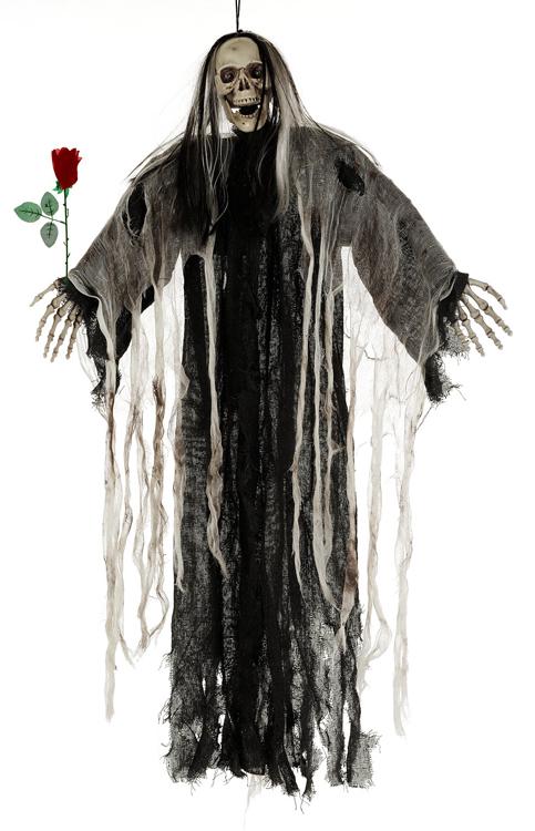 Squelette animé avec rose