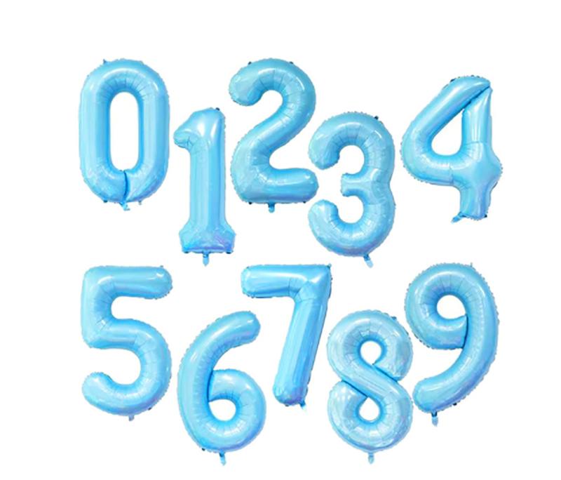 Ballon géant aluminium chiffre bleu bébé 104 CM