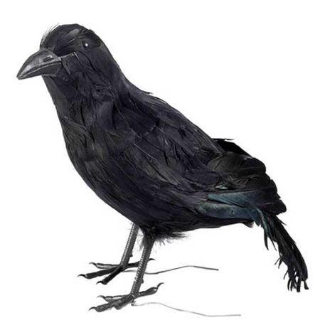 Corbeau Factice En Plumes 32 cm
