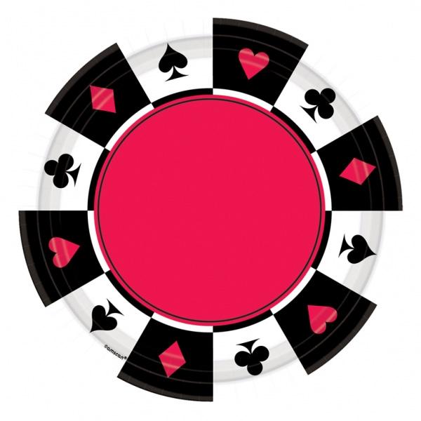 8 assiettes jetables thème casino