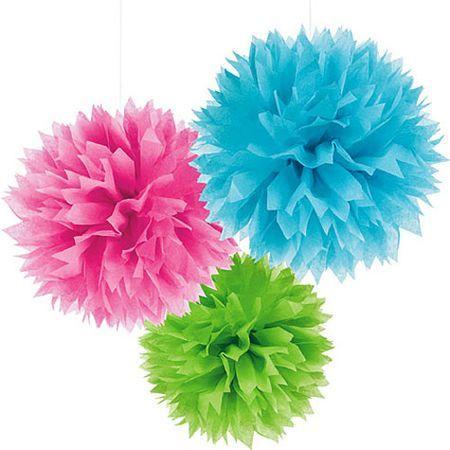 3 pompons fleurs papier à Suspendre Fluo