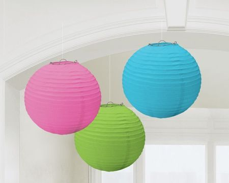 3 Lampions Rond Couleur Fluo