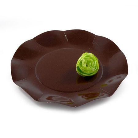 10 Assiettes Jetables 21 Cm Chocolat
