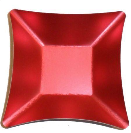 8 Coupelles Carrées Jetables Wasabi Rouge Métal