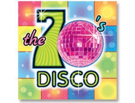 16 Serviettes Thème Disco Boules à Facettes