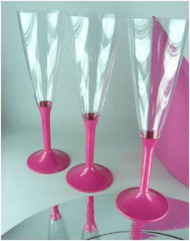 10 Flutes à Champagne Jetables Fuchsia