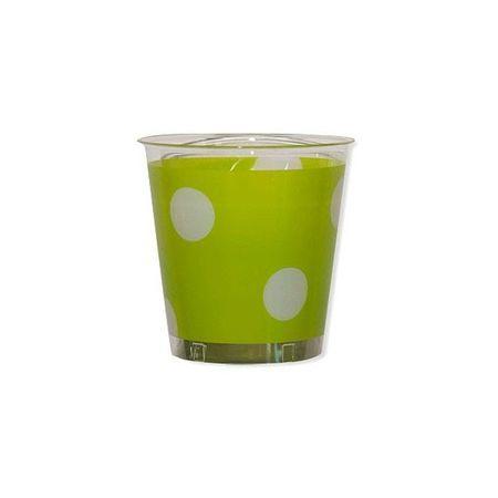 10 Verres En Plastique Vert Anis à Pois Blancs
