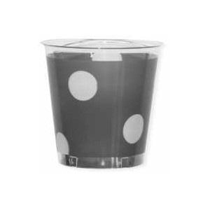 10 verres jetables argent à pois blanc