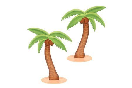 3 Palmiers En Bois 15 Cm
