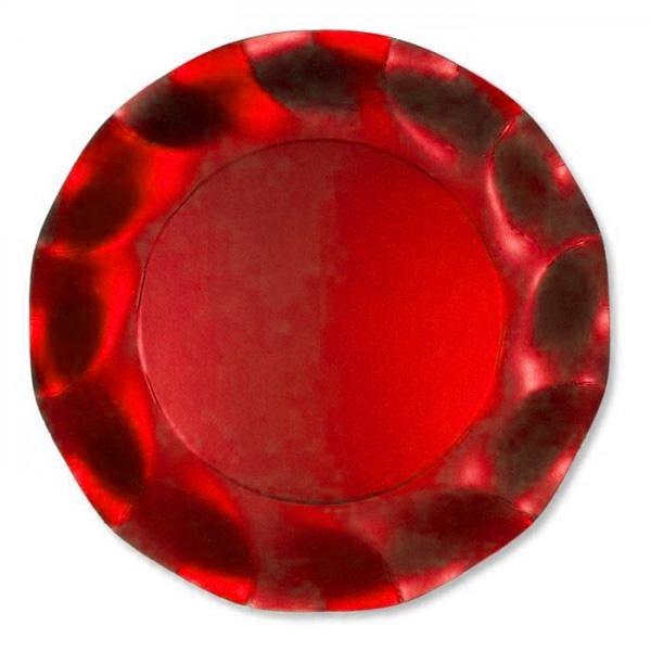Assiettes jetables métallisées rouges 27 cm