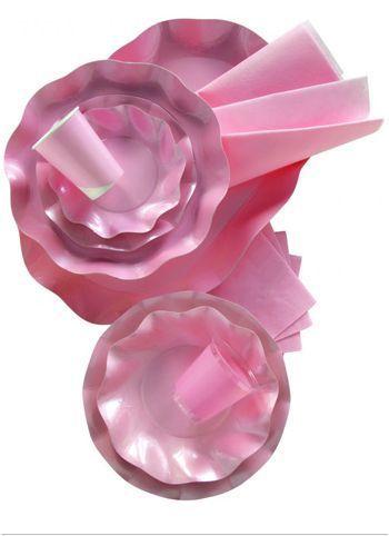 10 Assiettes Roses Métallisées 27Cm