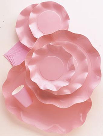 10 Assiettes Jetables Roses Perlées 27Cm