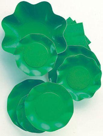 10 Assiettes Jetables Vert Pré 27Cm