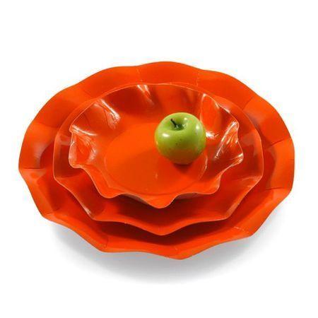 10 Assiettes Jetables Oranges 21Cm