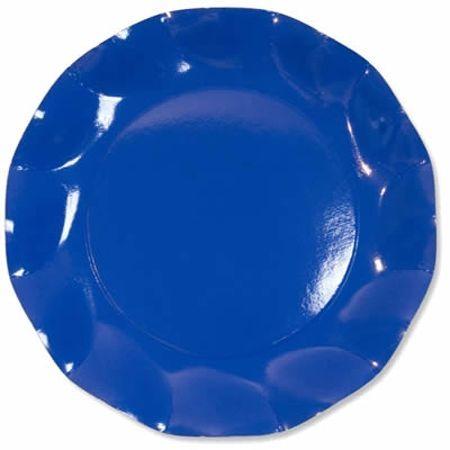 10 Assiettes Jetables Bleues Cobalt 21Cm