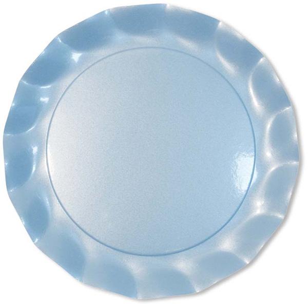 5 Assiettes Jetables Maxi 32.4Cm Bleues Perlées