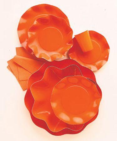 5 Assiettes Jetables Maxi 32.4Cm Oranges