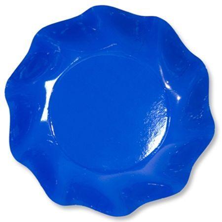 10 Coupelles Jetables 18.5Cm Bleues Cobalt