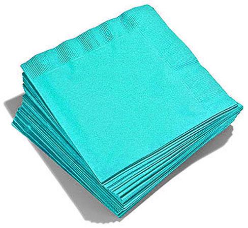 50 Serviettes Turquoises Papier Jetable