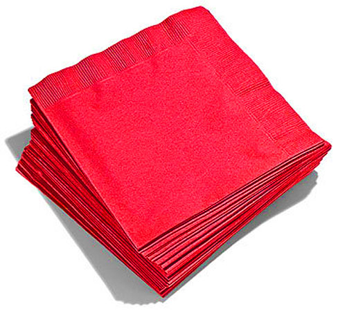 20 Serviettes Rouges Papier Jetable