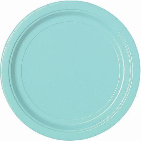 24 Assiettes Jetables Bleu Lagon 27.5 Cm