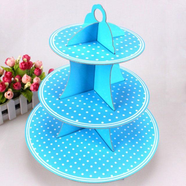 Plateau à cup cake bleu à pois