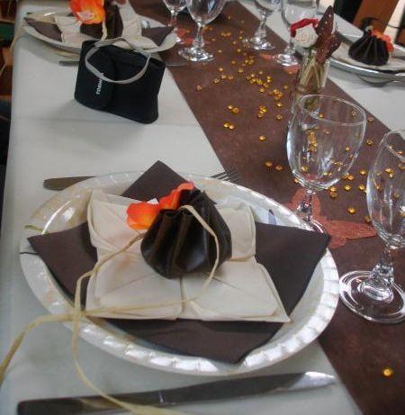 Chemin de Table En In-tissé Chocolat