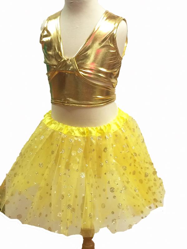 Brassiere de danse enfant métallisée or