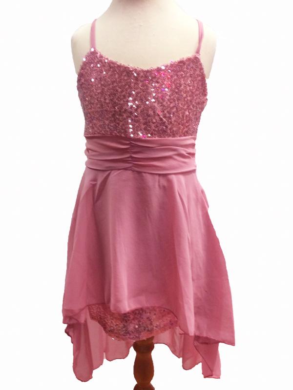 Robe de danse enfant à paillettes roses