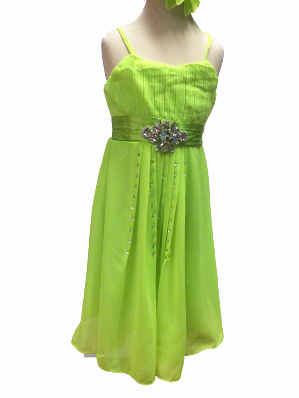 Robe de danse enfant en crêpe vert fluo