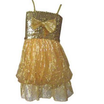 Robe disco boule à paillettes enfant dorée