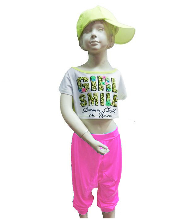 Pantalon sarouel hip hop enfant rose