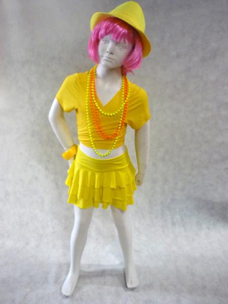Jupe de danse enfant à volants jaune