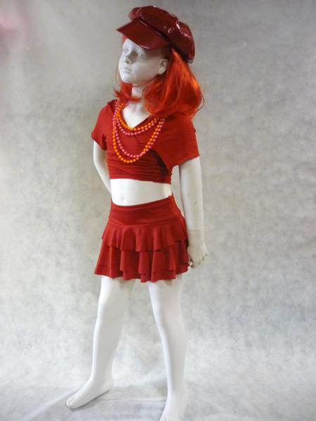 Jupe de danse enfant à volants rouge
