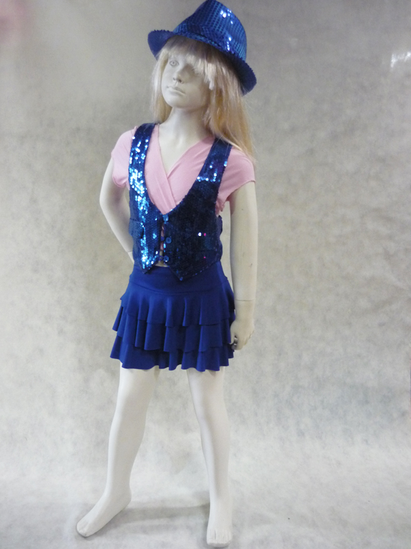 Jupe de danse enfant à volants bleu roy