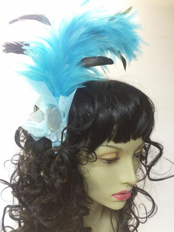 Serre tête cabaret plumes bleue turquoise