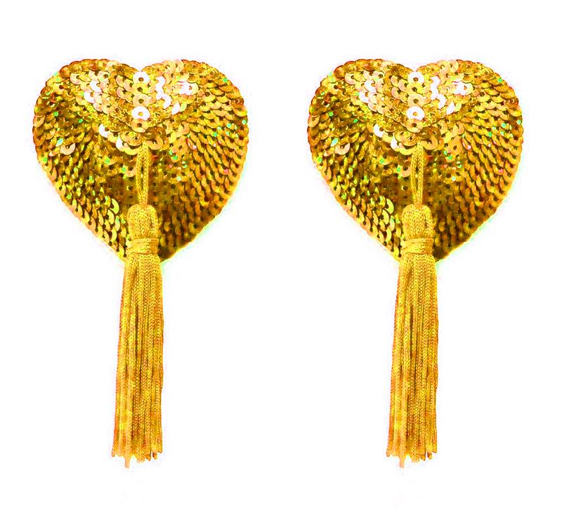 Cache téton à paillettes coeur or
