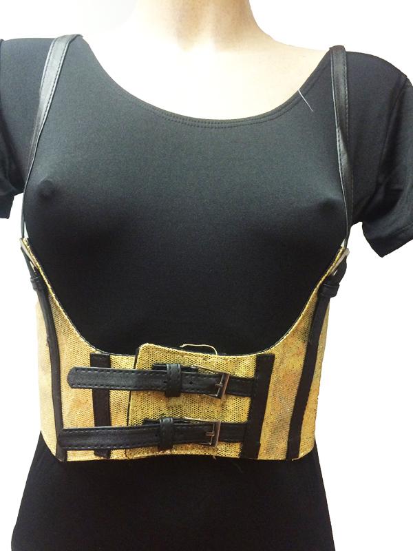 Ceinture corset pailleté or